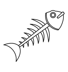 Fish skeleton icon outline style vector image vector image