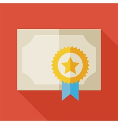 Flat Diploma Award Paper with long Shadow vector image