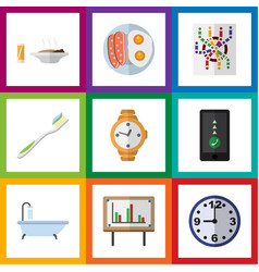 Flat icon lifestyle set of tub watch whiteboard vector