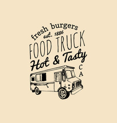Food truck logo with lettering hand drawn vector