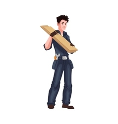 Full length young and handsome worker shouldering vector