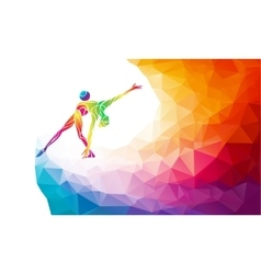 Gymnastics girl with ball in trendy abstract vector image