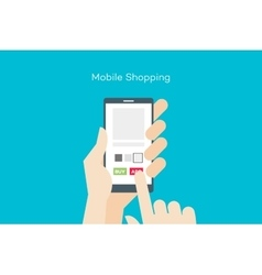 Hand holding smartphone with online mobile shop vector image vector image