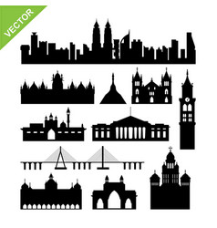 india mumbai landmark silhouettes vector image
