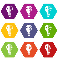 light bulb icon set color hexahedron vector image