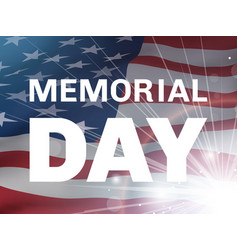 memorial day flying flag of the usa and flash vector image vector image