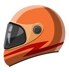 Orange racing helmet icon isometric 3d style vector image
