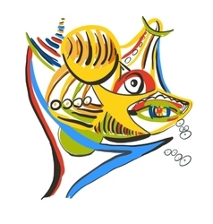 Shark with prey style of abstract art vector