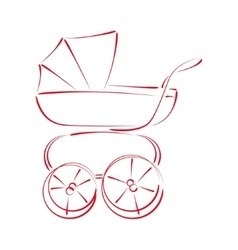 Sketched baby stroller buggy vector image