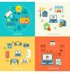 Smart home flat set vector image vector image