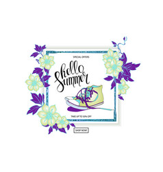 summer discount banner sneakers vector image