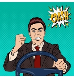 Angry driver man showing his fist road rage vector