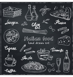 Hand drawn set with italian food vintage vector