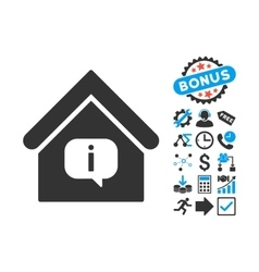Hint building flat icon with bonus vector