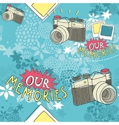 Seamless pattern with vintage camera vector image
