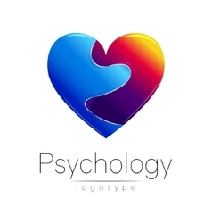 Modern logo of psychology broken heart vector