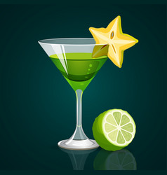 Green cocktail with lime part below on dark vector