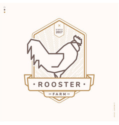 Rooster linear logo vector