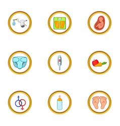 Baby period icon set cartoon style vector