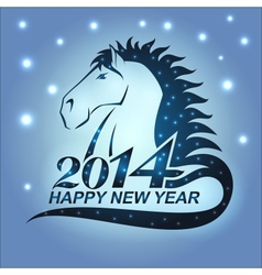 Horse with stars as a symbol of 2014 vector