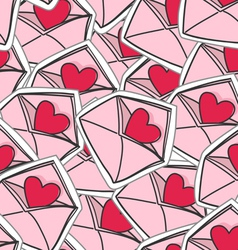 valentines hearts on envelopes seamless background vector image