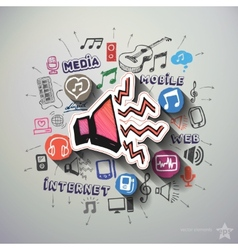 Music and entertainment collage with icons vector