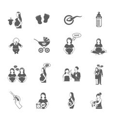 Pregnancy black icon set vector