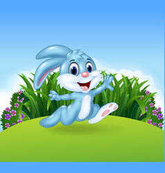 Cartoon bunny running in the jungle vector image