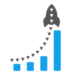 Rocket business bar chart flat symbol vector