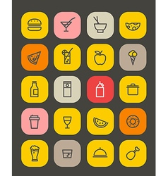 Simple foob icons collection isolated on white vector image