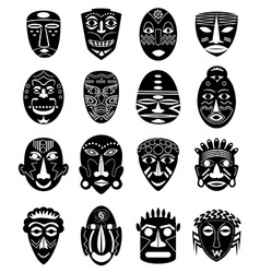 Africa tribal mask icons set vector image