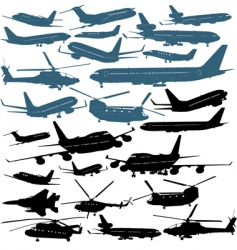 aircraft silhouettes vector image