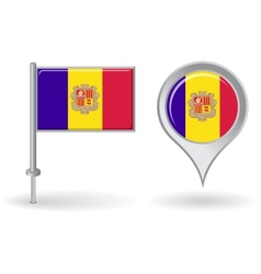 Andorran pin icon and map pointer flag vector image vector image