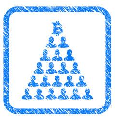 Bitcoin ponzi pyramid framed grunge icon vector