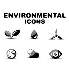 Black glossy environmental icon set vector image