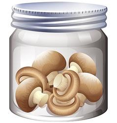 Bottle of fresh mushroom vector image vector image