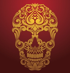Gold skull ornamental vector