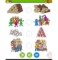 Greater less or equal cartoon puzzle game vector