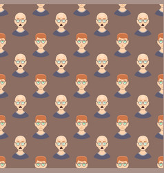 Hair loss stages man seamless pattern and types of vector