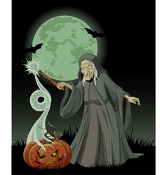 Halloween witch casts a spell vector