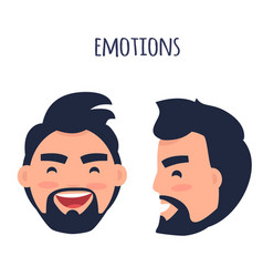 happy emotion face from different angles vector image vector image