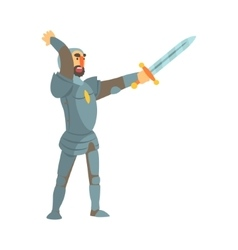 Knight attacking with full body armor and sword vector