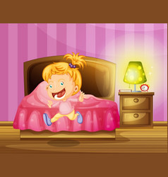 little girl runs in bedroom vector image vector image