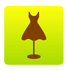 Mannequin with dress sign brown icon at vector