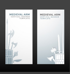Medieval cold steel arms banners vector