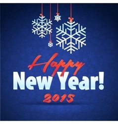 Merry Christmas and Happy New Year Snowflake Card vector image