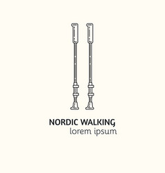 Modern linear style nordic walking logotype vector