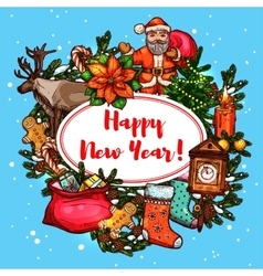 New year symbols holiday poster vector