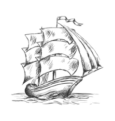 Old ship under full sails in ocean water vector image vector image