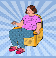 Pop art fat woman watching tv with remote vector